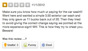 We pulled this one from Yelp.com. It's a review of a car wash in Williamsburg. Eek. (Photo: Screenshot/Yelp)