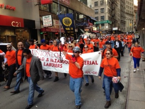 Workers demanded an increase in the minimum wage, among other things, in New York City in May 2014.