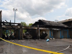 Hog Wash Car Wash was destroyed by the fire. (Photo: Indianapolis Fire Department/via IndyStar.com)