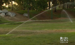 Watering lawns is illegal under the new excessive water ban in California. (Photo: Screenshot/CBS News)