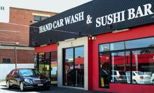 This car wash serves sushi while you wait. Photo from http://www.broadsheet.com.au/melbourne/food-and-drink/article/sashimi-car-wash