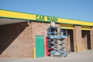 Construction takes places at the Squeaky Clean car wash.   leaderandtimes.com